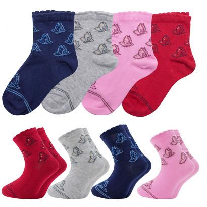 """Детские носочки для девочек """"Бабочки"""" KTSL0097 / 12 пар / ассорти"""