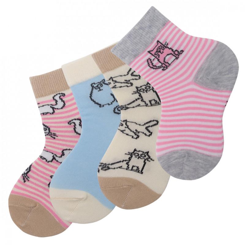 """Детские носочки для девочек """"Котики"""" KTSL0151 / 12 пар / ассорти"""