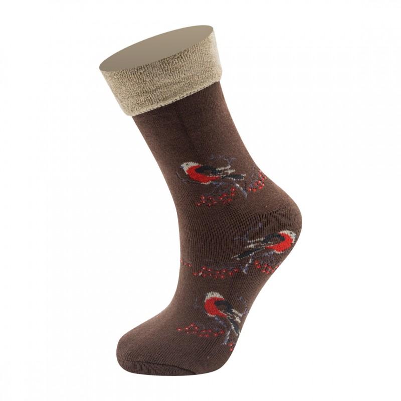 """SM3078 SANDRA """"Снегири"""" женские махровые носки / 6 пар / коричневые"""