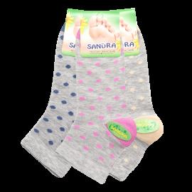 "Классические женские носки SANDRA ""Горох"" SLL0158 / 12 пар / меланж"